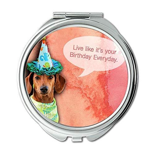 Mirror,makeup mirror,Dogs Playing dog b q,pocket mirror,1 X 2X -