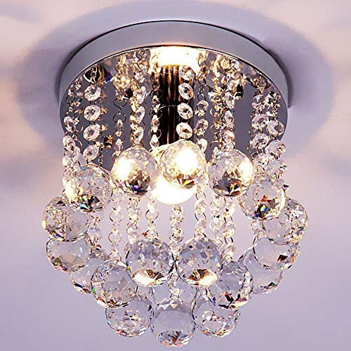 Kids Room Ceiling Light - ZEEFO Crystal Chandeliers Light, Mini Style Modern Décor Flush Mount Fixture With Crystal Ceiling Lamp For Hallway, Bar, Kitchen, Dining Room, Kids Room (8 inch)
