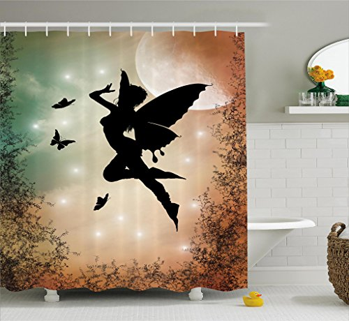 Ambesonne Apartment Decor Shower Curtain, Black Fairy with Angel Wings Butterflies and Sun Like Alluring Round Light, Fabric Bathroom Decor Set with Hooks, 70 Inches, Multicolor -