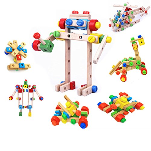 DIY Screw Block Wooden Combination Stacking Construction Early Learning Playing Toys (Combination Therapy)