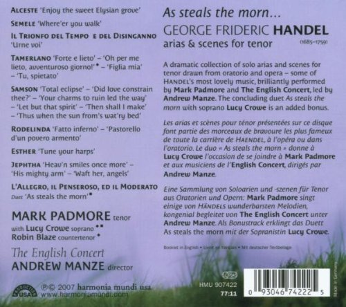 Handel: As Steals the Morn... Arias & Scenes for Tenor by PADMORE,MARK