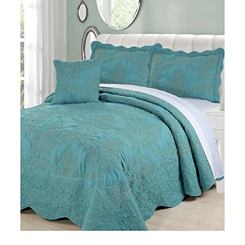 4 Piece 120 X 120 Teal Blue Oversized Damask Bedspread King To The Floor, Hangs Over Edge Floral Bedding Drops Side Bed Frame Drapes Large Extra Wide Long French Country Pattern, Polyester by D&H