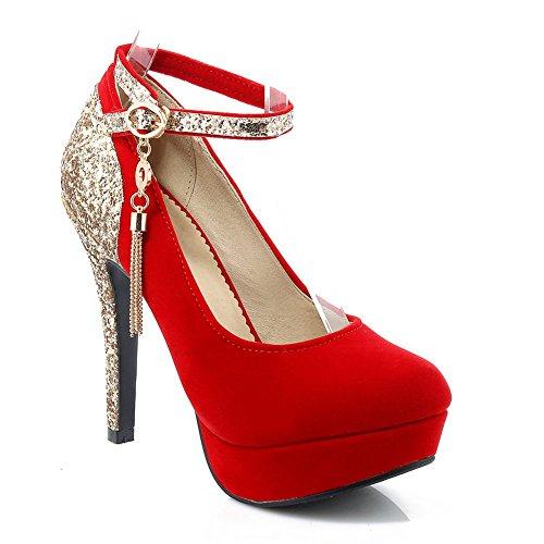 DecoStain Women's Glitter Fringes Bling Ankle Strap Thin High Heel Platform Pumps Party Work Dress ()