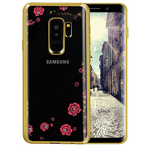 Galaxy S9 Case,Lozeguyc [Secret Garden] Gold and Pink TPU Plating Clear Shiny...