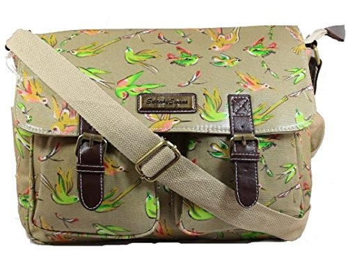 Swanky Bird & Floral Print Satchel Bag Girls School Bag Womens Handbag Beige