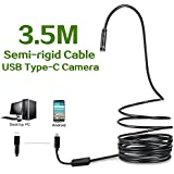 Fantronics 3.5 Meter(11.48ft) Rigid Cable 2.0 Megapixels HD USB C Endoscope Type C Borescope Inspection Camera for Android, Samsung Galaxy S8, Google pixel, Nexus 6p, HTC 10, Huawei V9