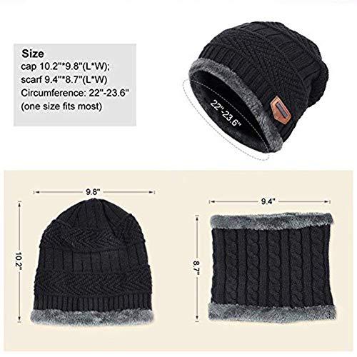717e86cf0270 Sysky Bonnet Tricot Homme Chaud Fourrure Chapeau d Hiver Ensemble écharpe  avec Doublure Polaire  Amazon.fr  Vêtements et accessoires