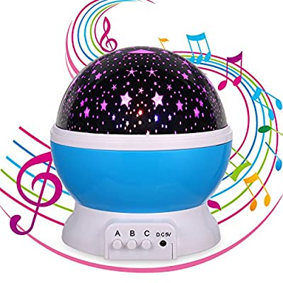MINGKIDS Lullaby Night Light, Rechargeable Stars Moon projector Warm Night Lamp,Changing Color light,Rotation,12 songs,Gift for Babies Children,Nursery