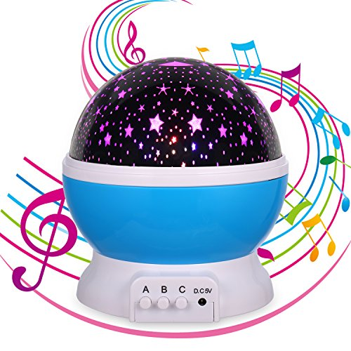 (Gift for 1-12 Years Old,Music Star Projector Night Light,Rechargeable,12 Songs,Christmas Gift for 1-15 Years Old(Blue Music))