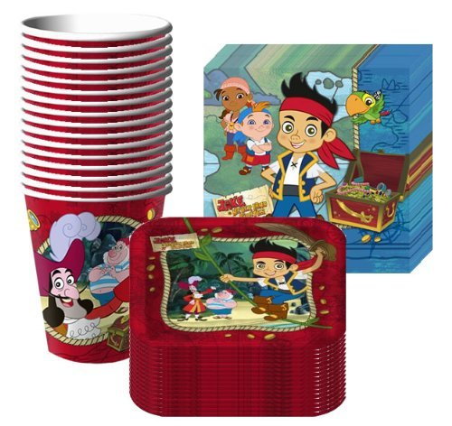 Jake & the Neverland Pirates Party Supplies Pack Including Plates, Cups and Napkins- 16 Guest ()