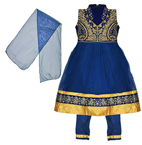 (Zaffron Little Girls' Designer Salwar Kameez Indian Party 3 Piece Dress Set Clothing 2 to 4 Years (16 (2 Years), Royal Blue and Gold))