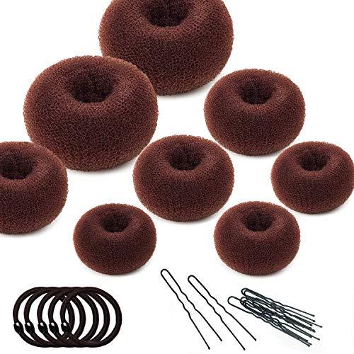 (Hair Bun Maker Set,8 Pcs Donut Hair Bun Maker(2 large, 3 medium and 3 small)+10 Pcs Hair Elastic Bands+20 Pcs Hair Pins,Dark Brown)