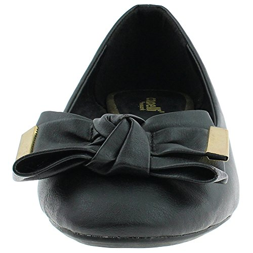 Black Leather York Ladies Flats New Capelli Tipped With Faux Metal Bow wAvpqt