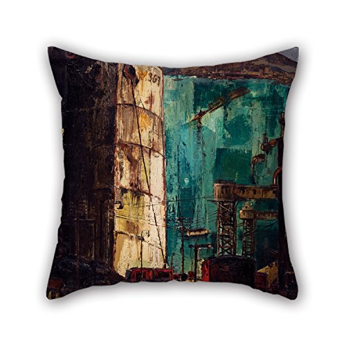 Oil Painting K??rlis Padegs - The Port (The Dock) Throw Pillow Case Best For Dinning Room Kids Room Her Deck Chair Car Seat 20 X 20 Inches / 50 By 50 Cm(twin Sides) ()