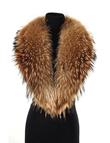 Ferand Women's Luxurious Real Raccoon Fur Collar Scarf, Detachable and Warm, Ideal for Your Coat Jacket in Winter, 110 cm: Dark natural brown by Ferand