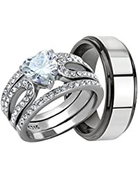 4 Piece His & Hers, Women's Stainless Steel Heart Cut Cubic Zirconia 1.7 Ct Engagement Wedding Ring Set & Mens Two Tone TUNGSTEN Band. Available Sizes: Men's 5,6,7,8,9,10,11,12,13 Women's Set Sizes: 5,6,7,8,9,10