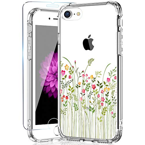KINFUTON iPhone 8 Case & iPhone 7 Case with Screen Protector, Girls Women Flowers/Floral Cover with Anti-Scratch Hard PC Back and Soft TPU Bumper Slim Clear Phone Case for iPhone 8 and iPhone 7
