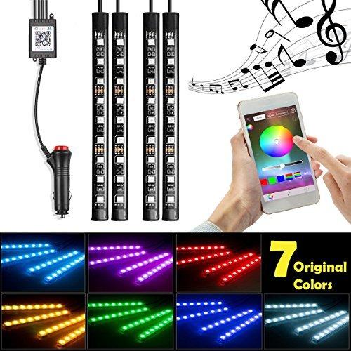Car LED Strip Lights InTeching 4 Pcs 48 LEDs Car Interior RGB Music Atmosphere Floor Underdash Lights APP Control Bluetooth Light Kit App Updated: June 14, 2018