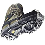 YUEDGE Ice Snow Grips 18 Teeth Stainless Steel Chain Crampons Non-slip Shoe Cover Outdoor Hiking Climbing Traction Cleats Ice Grippers