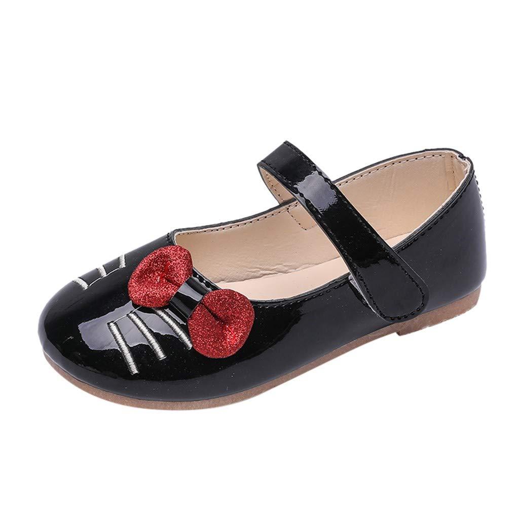 WUAI Kids Baby Girls PU Leather Single Princess Shoes,Little Girls Elegant Single Boots Bowknot Dance Shoes 3-12T(Black,3-3.5Years(15.5CM))