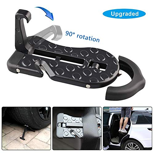 (5 IN 1 Upgraded Car Rooftop Doorstep Folding Ladder Foot Pegs Easy Reach to Car Rooftop Roof-Rack, Vehicle Latch Door Step, Tire Stopper Safety Hammer for Jeep SUV Off-Road Car (Upgraded Car Doorstep))