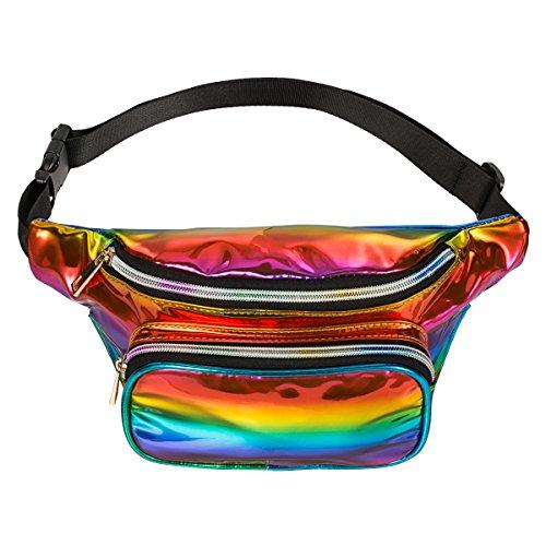 Fzgj Fanny Pack Pu Waterproof Rave Festival Hologram Travel Waist Bag  Rainbow 02