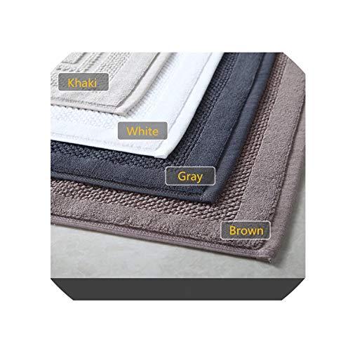 Modern 100% Cotton Solid Bath Room Anti Slip Mat Hotel Shower Mat Rectangle Simple Water Adsorption Door Mat/Carpet Toilet Rug,Black,400Mmx600Mm