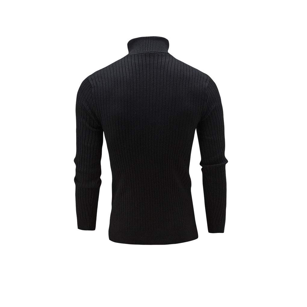 irene Casual Mens Knit High Collar Sweater Male Texture Long Sleeve Blouse Basic Top