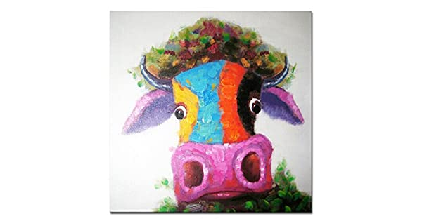 Yagli Boya Tablo Happy Inek Modern Art El Boyamasi Tuval Uzerine