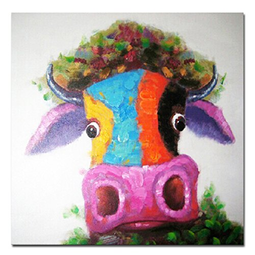 Muzagroo Art Cow Oil Paintings Modern Art Handpainted on Canvas Wall Decor Art (24x24in) (Cow Picture Frame)