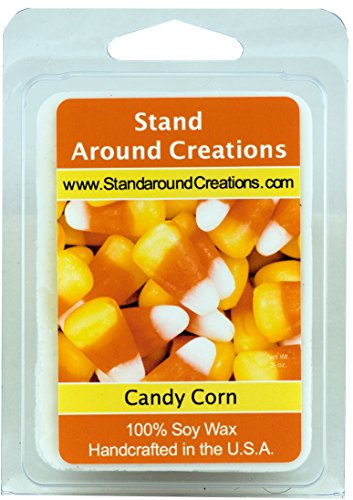 100% All Natural Soy Wax Melt Tart - Candy Corn: A warm vanilla candy with top notes of butter with a slight down of almond. - 3oz - Naturally Strong Scented. ()