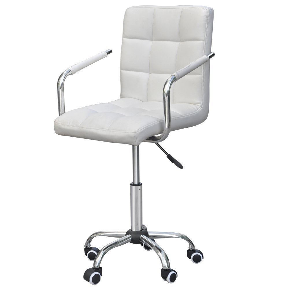 Amazon.com: Yaheetech Modern PU Leather Midback Adjustable Executive Office  Chair White: Kitchen U0026 Dining
