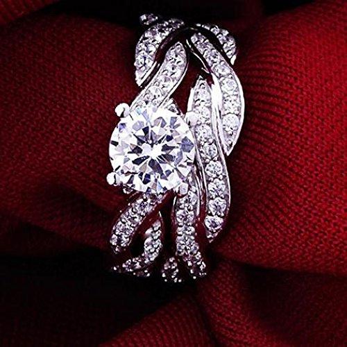 Amesii 2 Pcs Womens Silver Plated Rhinestone Engagement Wedding Ring Set