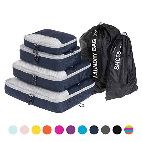 Globite Travel Set | 6-piece Set | Premium Luggage Organizer Bundle with 4 Packing Cubes, 1 Laundry Bag & 1 Shoe Bag | Space Saver Kit Helps You Carry All ()