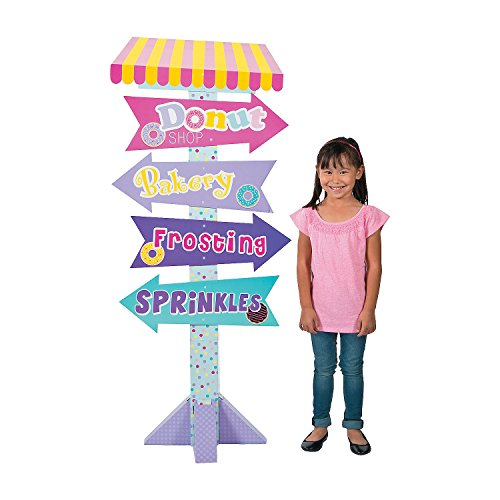 Fun Express - Donut Party Directional Sign for Birthday - Party Decor - Large Decor - Floor Stand Ups - Birthday - 1 Piece ()