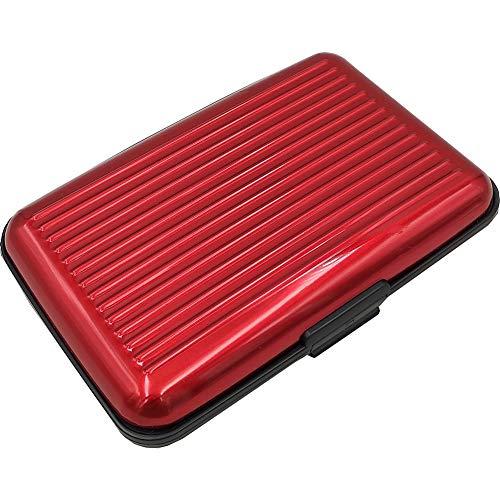 RFID Credit Card Holder for Women or Men,Theft Proof Credit Card Holder,Slim Design Fits in Pocket (Bump Red)