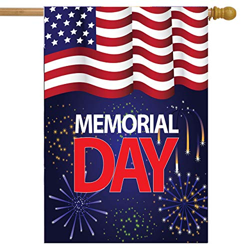 Wamika Memorial Day House Flag 28 x 40 Double Sided, American Flag Firework Garden Yard Flags Welcome Outdoor Indoor Banner for Party Home Decorations