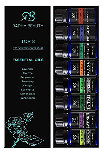 Radha Beauty Aromatherapy Top 8 Essential Oils 100% Pure & Therapeutic Grade - Basic Sampler Gift Set & Kit (Lavender, Tea Tree, Eucalyptus, Lemongrass, Orange, Peppermint, Frankincense and Rosemary) - incensecentral.us