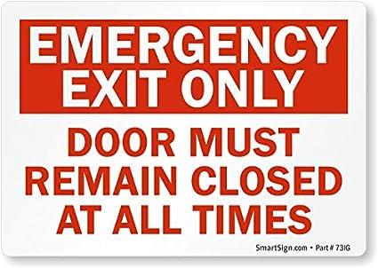 Amazon.com: Salida de Emergencia sólo Puerta debe mantenerse ...