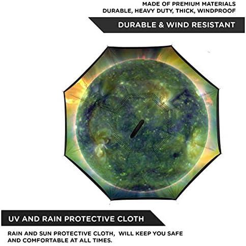 Earth ユニセックス二重層防水ストレート傘車逆折りたたみ傘C形ハンドル付き