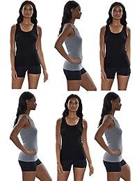 Sexy Basics Tank Tops for Women, 6 Pack Cotton -Flex Tank Tops