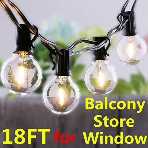 18Ft G40 Globe String Lights 10 Socket and 12 G40 LED Bulbs Dimmable 2700K Warm 0.5W Led Outdoor String Lights,Waterproof Light String 90% Energy Pro for Balcony Window Cafe Store by Boxlood (Circle String)