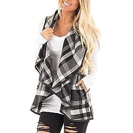 Yanekop Womens Lapel Sleeveless Open Front Hem Plaid Vest Cardigan Jacket With Pockets