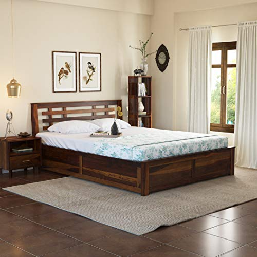 Induscraft Solid Wood Queen Size Bed with Storage