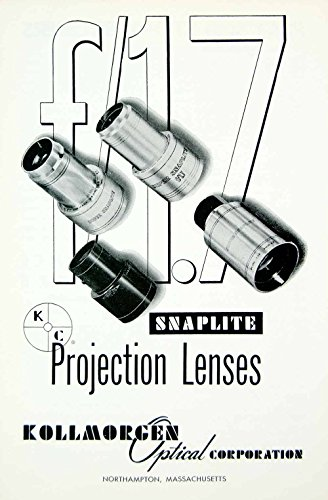 1958 Ad Snaplite Projection Lens Lenses Kollmorgen Optical Northampton MA MOVIE4 - Original Print Ad