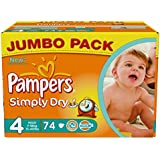 Pampers Simply Dry Size 4 (Maxi) Jumbo 2 x Packs of 74 Nappies--148 Nappies