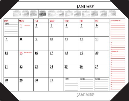 AT-A-GLANCE SK117000 Two-Color Monthly Desk Pad Calendar, 22 x 17, 2016