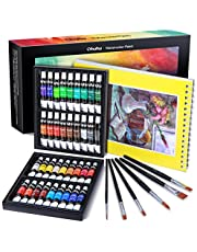 Watercolor Paint Set by Ohuhu Premium Quality Art Watercolors Painting Kit (12 ml, 0.42 oz.) with Painting Brushes for Artists, Students