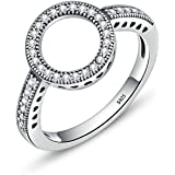 Anillos De Plata 925 Mujer Clear CZ Circle Round Finger Rings for Women