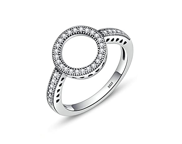 Amazon.com: Anillos De Plata 925 Mujer Clear CZ Circle Round Finger Rings for Women: Jewelry